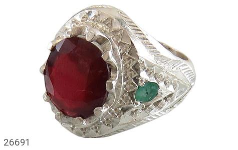 انگشتر نقره زمرد زامبیا یاقوت سرخ مرغوب شاهانه مردانه دست ساز - 26691