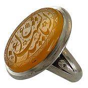 انگشتر نقره عقیق زرد درشت حکاکی یا سید الشهداء مردانه
