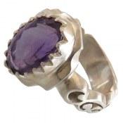 انگشتر نقره آمتیست خوش رنگ مرغوب مردانه دست ساز