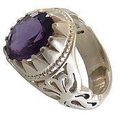 انگشتر نقره آمتیست خوش رنگ مرغوب مردانه