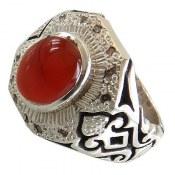 انگشتر نقره عقیق یمن قرمز مرغوب دور برلیان اصل مردانه