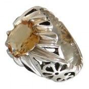 انگشتر نقره سیترین تراش مرغوب شاهانه مردانه