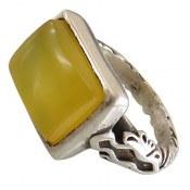 انگشتر نقره عقیق زرد درشت شرف الشمس مردانه