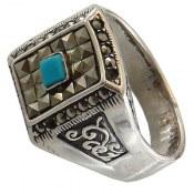 انگشتر نقره فیروزه تبتی جذاب مردانه