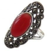 انگشتر نقره نگین قرمز طرح خاتون زنانه