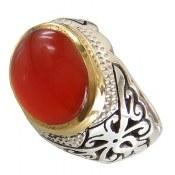 انگشتر عقیق یمن درشت قرمز مرغوب خوش رنگ مردانه