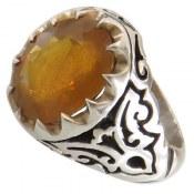 انگشتر نقره یاقوت آفریقایی زرد مرغوب درشت شاهانه مردانه
