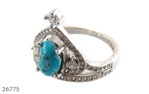 عکس انگشتر نقره فیروزه نیشابوری خوش رنگ طرح پرنسس زنانه