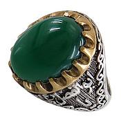 انگشتر عقیق سبز درشت رکاب یا ابوالفضل مردانه