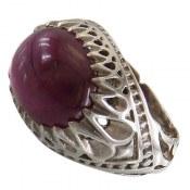 انگشتر نقره یاقوت آفریقایی قرمز درشت شاهانه مردانه