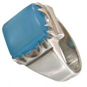 انگشتر نقره عقیق آبی درشت مردانه
