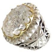 انگشتر نقره در نجف درشت سلطنتی دور برلیان اصل حکاکی و من یتق الله مردانه