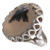 انگشتر نقره عقیق شجر درشت قائن طبیعی مردانه