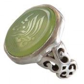 انگشتر عقیق سبز درشت حکاکی یا فاطمه الزهرا مردانه