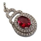 مدال نقره نگین قرمز طرح نارگل زنانه