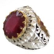 انگشتر نقره یاقوت سرخ درشت شاهانه دور برلیان اصل مردانه