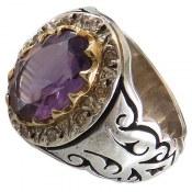 انگشتر نقره آمتیست درشت سلطنتی دور برلیان اصل مردانه