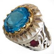 انگشتر نقره زمرد یاقوت توپاز سوئیس درشت سلطنتی دور برلیان اصل مردانه