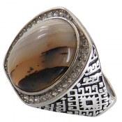 انگشتر نقره عقیق شجر درشت ابروبادی مردانه