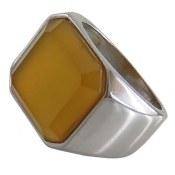 انگشتر عقیق زرد درشت مرغوب مردانه