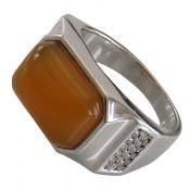 انگشتر نقره عقیق زرد خوش رنگ درشت مردانه