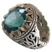 انگشتر نقره توپاز سبز آبی درشت مردانه