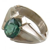انگشتر نقره توپاز سبز آبی مرغوب مردانه
