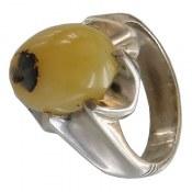 انگشتر نقره اپال زرد درشت مردانه
