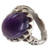 انگشتر نقره آمتیست خوش رنگ درشت مرغوب مردانه