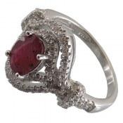 انگشتر نقره یاقوت سرخ طرح پرنسس زنانه