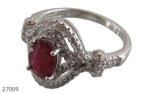 عکس انگشتر نقره یاقوت سرخ طرح پرنسس زنانه