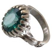 انگشتر توپاز سبز آبی درشت مرغوب مردانه