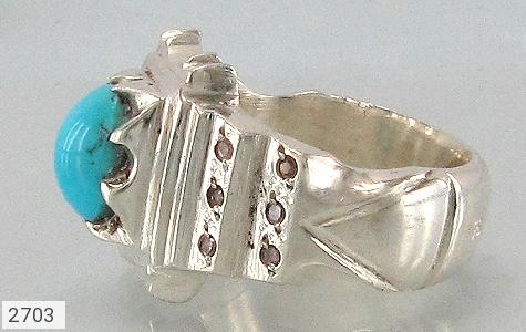 عکس انگشتر فیروزه و الماس نیشابوری مردانه