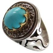 انگشتر نقره فیروزه نیشابوری شاهانه دوربرلیان اصل مردانه