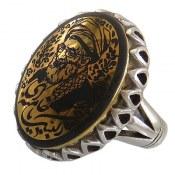 انگشتر نقره حدید صینی طلائی درشت طرح لبیک یا خامنه ای مردانه