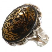 انگشتر حدید صینی درشت طلائی طرح لبیک یا خامنه ای مردانه