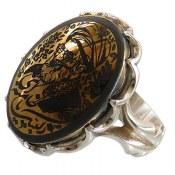 انگشتر نقره حدید صینی درشت طلائی طرح لبیک یا خامنه ای مردانه