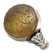 انگشتر نقره عقیق زرد درشت حکاکی یا حسین شهید مردانه