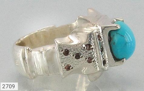 عکس انگشتر الماس و فیروزه نیشابوری برجسته مردانه
