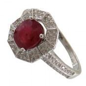 انگشتر نقره یاقوت سرخ طرح زیبادخت زنانه