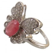 انگشتر نقره یاقوت سرخ طرح پروانه زنانه