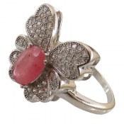 انگشتر یاقوت سرخ طرح پروانه زنانه