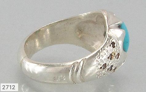 عکس انگشتر نقره الماس و فیروزه نیشابوری عجمی مردانه