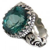 انگشتر نقره توپاز سبز درشت رکاب یاعلی مردانه