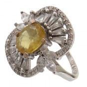 انگشتر نقره یاقوت زرد سلطنتی زنانه