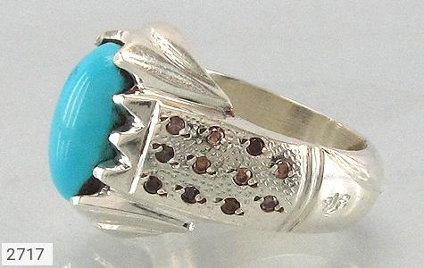 عکس انگشتر فیروزه و الماس نیشابوری خوش رنگ مردانه