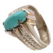 انگشتر نقره فیروزه نیشابوری خوش طبع مردانه
