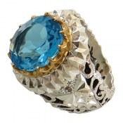 انگشتر نقره توپاز سوئیس آبی سلطنتی درشت رکاب طرح آینه کاری مردانه