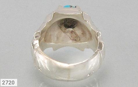 عکس انگشتر نقره الماس و فیروزه نیشابوری مردانه