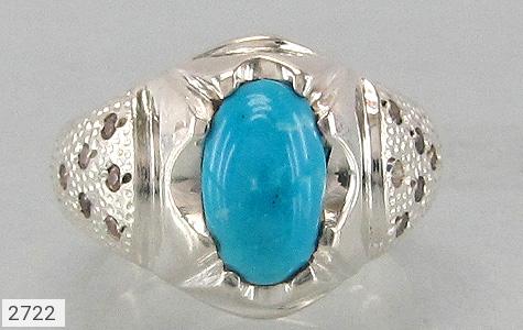 عکس انگشتر الماس و فیروزه نیشابوری پررنگ مردانه